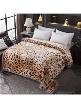 Brown Leopard Print Blanket Thicken Warm Double-sided Fleece Blanket