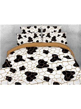 Cow Spots Printing 4-Piece 3D Bedding Set/Duvet Cover Set 2 Pillowcases 1 Flat Sheet 1 Duvet Cover White Ultra Soft Skin-friendly Polyester