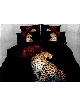 4-Piece Bedding Set 3D Leopard Red Rose Duvet Cover Set 2 Pillowcases 1 Flat Sheet 1 Duvet Cover Black Ultra Soft Skin-friendly Polyester