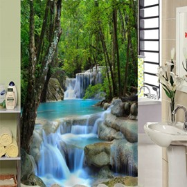 3D Waterfall and Hidden Forests Printed Polyester Shower Curtain