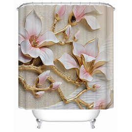 White Magnolia Pattern Polyester Waterproof and Eco-friendly 3D Shower Curtain