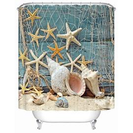 3D Sea Snail and Starfish Seashell Printed Polyester Bathroom Shower Curtain