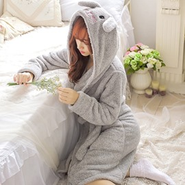 Super Cute Rabbit Coral Cashmere Women Bathrobe with Hat
