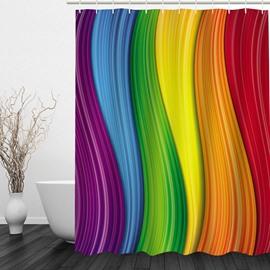 Colored Wave 3D Printed Bathroom Waterproof Shower Curtain