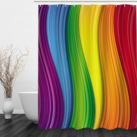 3D Colorful Wave Stripes Polyester Bathroom Shower Curtain