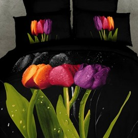 3D Colorful Tulips Printed Cotton 4-Piece Black Bedding Sets/Duvet Covers