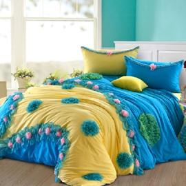 100% Cotton Princess Flower  4-Piece Cinderella Duvet Cover Sets