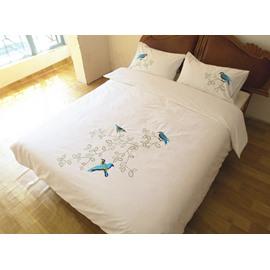 Blue Bird Printed Handmade Embroidery Cotton 4-Piece Bedding Set/Duvet Cover