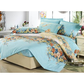 Retro Green Colorful Blooming Flowers Polyester 4-Piece Bedding Sets/Duvet Cover