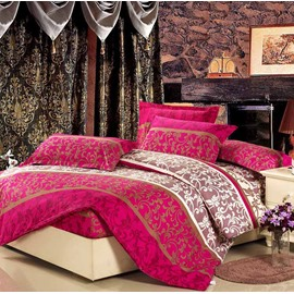 Luxurious Jacobean Reactive Printing 4-Piece Cotton Duvet Cover