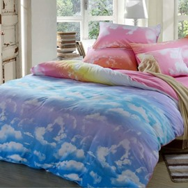 Lovely Clouds and Blue Sky Patterns Cotton 4-Piece Bedding Sets/Duvet Cover Colorfast Wear-resistant Endurable Skin-friendly All-Season Ultra-soft Microfiber No-fading