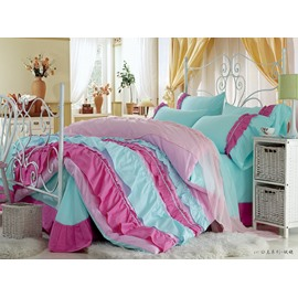 High Quality Beautiful Blue Color Rose Floral Borders Chiffon Bed-skirt 4 Piece Bedding Sets