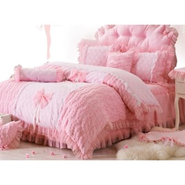 Bowknot and Flower Pattern Cotton and Lace 4-Piece Pink Duvet Covers/Bedding Sets