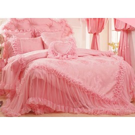 Flower Embroidery Lace Edging Princess Full Size 4-Piece Duvet Covers/Bedding Sets