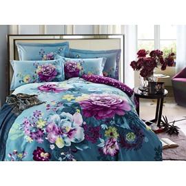 Purple Flower with Blue Background Cotton 4-Piece Duvet Cover Sets