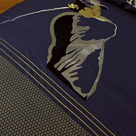 Noble Dark Blue with Figure and Golf Pattern Cotton 4-Piece Bedding Sets