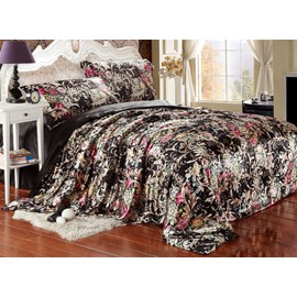 Luxury Style Beautiful Flower Blooming Print Black 4-Piece Bedding Sets/Duvet Cover