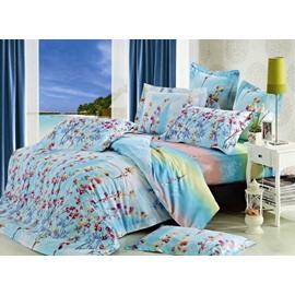 Elegant Beautiful Floral Pattern 4-Piece Cotton Duvet Cover Sets