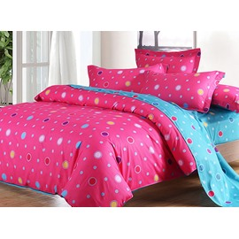 Lifeful Rose Color Polka Dot Print 4-Piece Cotton Duvet Cover Sets
