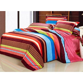 Rainbow Colorful Stripe Pattern Cotton 4-Piece Bedding Sets/Duvet Cover