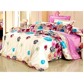 Skincare Flower Print 4-Piece Flannel Duvet Cover Sets