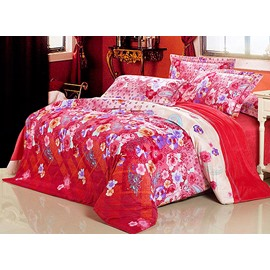 Gorgeous Paisley Flower Print 4-Piece Flannel Duvet Cover Sets