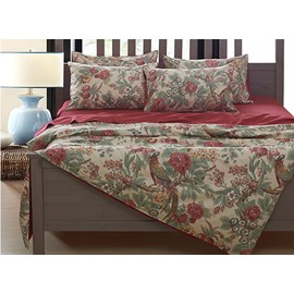 Chickadee and Flower Print 4-Piece Egypt Long-Staple Cotton Duvet Cover Sets