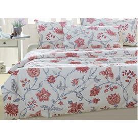 Charming Elegant Pink Floral Print 4-Piece Natural Cotton Duvet Cover Sets
