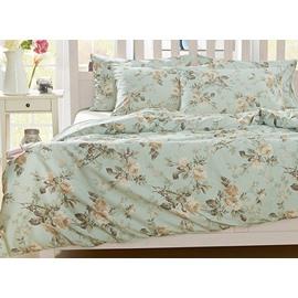 Pastoral Wild Flower Pattern 4-Piece Natural Cotton Duvet Cover Sets
