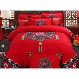 Ancient Wedding Veil Print 4-Piece Cotton Bedding Sets/Duvet Cover