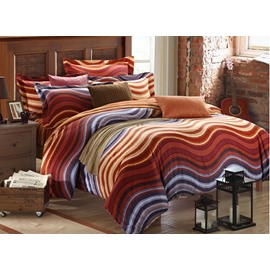 Colorful Waves Pattern Print Carla Velvet 4-Piece Bedding Sets/Duvet Covers