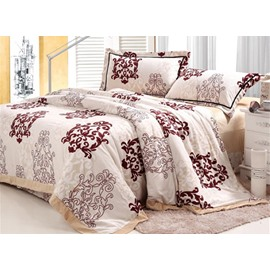 Unique Flower Pattern 4-Piece Coral Fleece Duvet Cover Sets