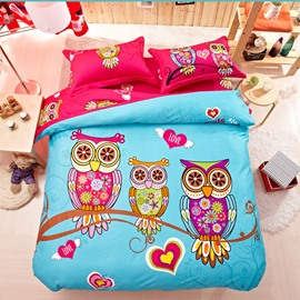 Family of Little Owls Print 4-Piece Natural Cotton Duvet Cover Sets