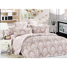 Damask Pattern 4-Piece Polyester Duvet Cover Sets