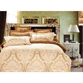 Damask Pattern Golden 4-Piece Bedding Sets/Duvet Covers
