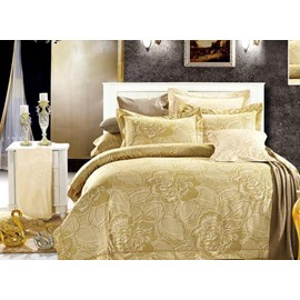 Luxury Yellow Peony Pattern 4-Piece Bedding Sets/Duvet Cover