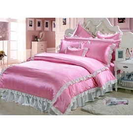 Lovely Lace 4-Piece Pink Duvet Cover Sets