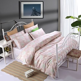 National Style Phoenix Tail Pink Cotton 4-Piece Duvet Cover Sets