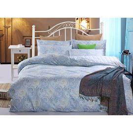 Ethnic Style Phoenix Tail Blue 4-Piece Cotton Duvet Cover Sets