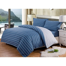 Stylish Concise White Stripe Blue 4-Piece Duvet Cover Sets