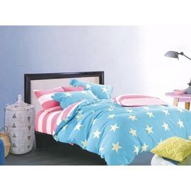 Modern Stars Graceful Blue 4-Piece Cotton Duvet Cover Sets