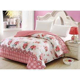 Snug Red Floral Print Cotton 4-Piece Duvet Cover Sets
