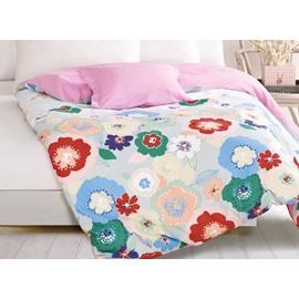 Classy Bright Colorful Floral 4-Piece Duvet Cover Sets