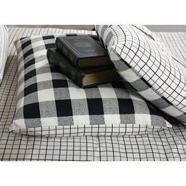 Black and White Plaid Pattern Cotton 4-Piece Bedding Sets/Duvet Cover