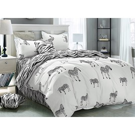 Unique Zebra Print 4-Piece Duvet Cover Sets
