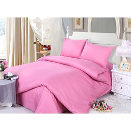Solid Rosy 100% Cotton 4-Piece Duvet Cover Sets