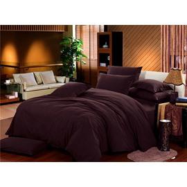 Luxury Solid Brown Cotton 4-Piece Duvet Cover Sets