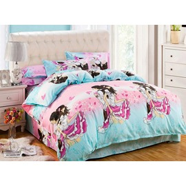 Romantic Lover Pink Butterflies Print 4-Piece Duvet Cover Sets