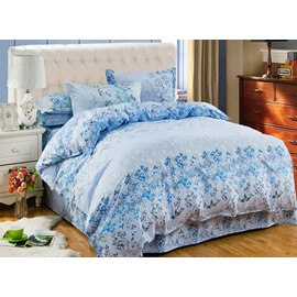 Elegant Flower Rattan Print Blue 4-Piece Duvet Cover Sets