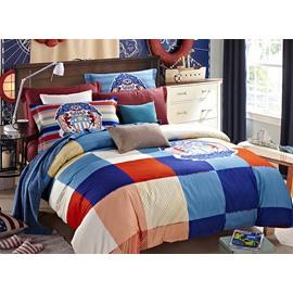 European Concise Style Plaid 4-Piece Duvet Cover Sets